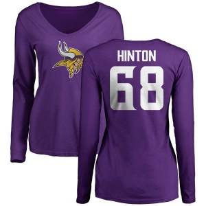 Kyle Hinton Minnesota Vikings Women's Purple Name & Number Logo Slim Fit Long Sleeve T-Shirt -