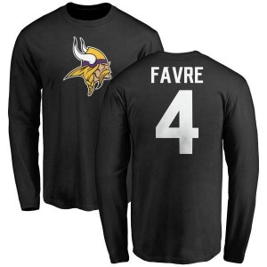 Brett Favre Minnesota Vikings Youth Black Name & Number Logo Long Sleeve T-Shirt -