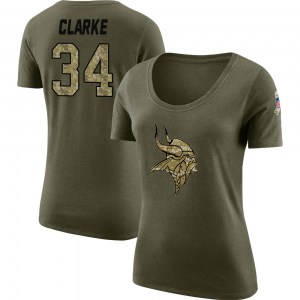 Nevelle Clarke Minnesota Vikings Women's Legend Olive Salute to Service Scoop Neck T-Shirt