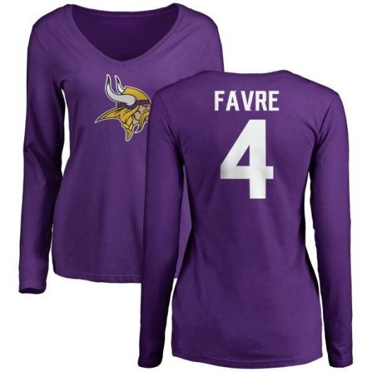 Brett Favre Minnesota Vikings Women's Purple Name & Number Logo Slim Fit Long Sleeve T-Shirt -