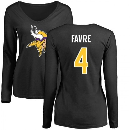Brett Favre Minnesota Vikings Women's Black Name & Number Logo Slim Fit Long Sleeve T-Shirt -