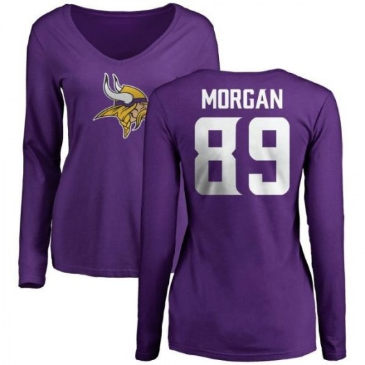 David Morgan Minnesota Vikings Women's Purple Pro Line Name & Number Logo Slim Fit Long Sleeve T-Shirt -