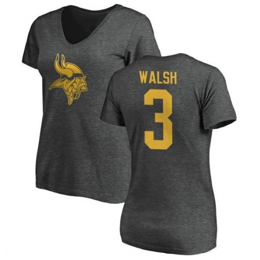 Blair Walsh Minnesota Vikings Women's Pro Line by Branded One Color T-Shirt - Ash